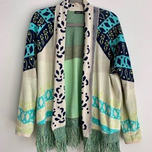 Gypsy Global Tribal Print Fringe Hem Wrap Sweater